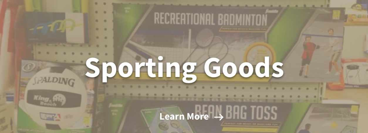 image of sporting goods section with volleyball and yard games set