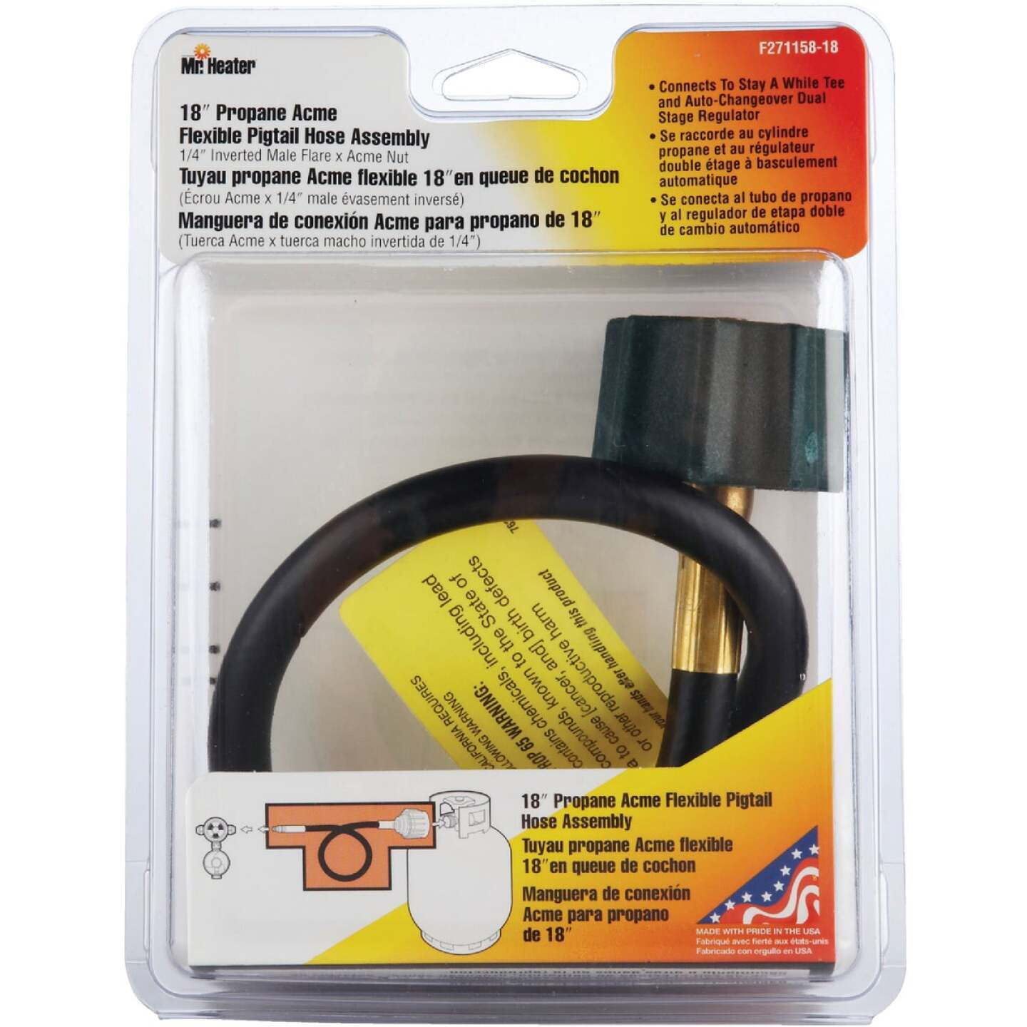 MR. HEATER 18 In. x 1/4 In. Inverted Male Flare x 3/8 In. Acme Nut LP Hose Assembly Image 2