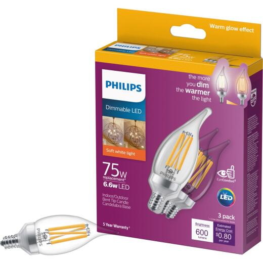 Philips Warm Glow 75W Equivalent Soft White BA11 Candelabra Dimmable LED Light Bulb (3-Pack)