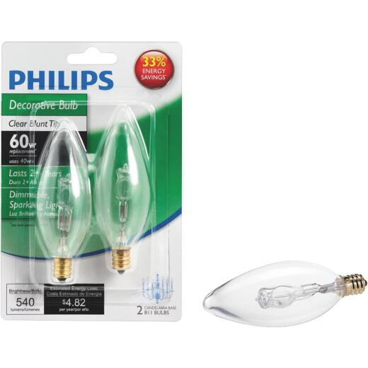 Philips 60W Equivalent Clear Candelabra Base B11 Halogen Decorative Light Bulb (2-Pack)