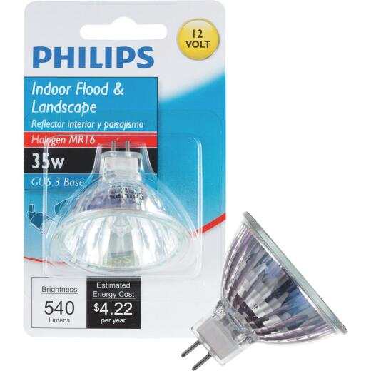Philips 45W Equivalent Clear GU5.3 Base MR16 Halogen Floodlight Light Bulb