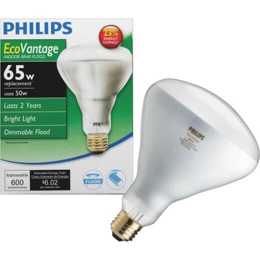 Philips EcoVantage 65W Equivalent Clear Medium Base BR40 Halogen Floodlight Light Bulb