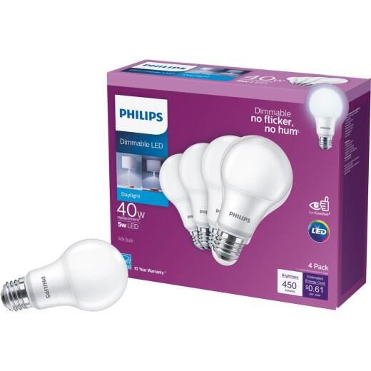 Philips 40W Equivalent Daylight A19 Medium Dimmable LED Light Bulb (4-Pack)