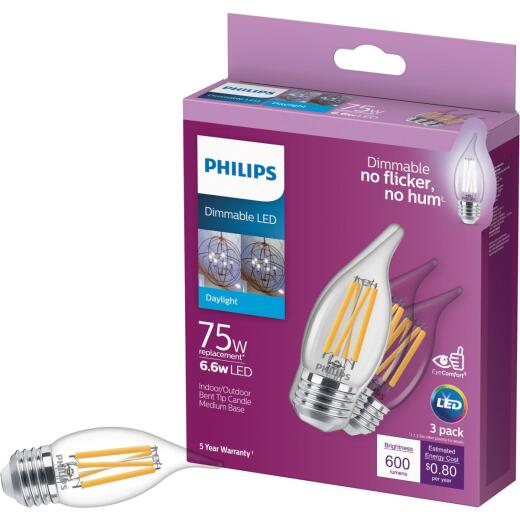 Philips 75W Equivalent Daylight BA11 Medium Dimmable LED Light Bulb (3-Pack)
